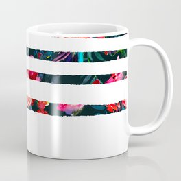 Pink red white watercolor floral geometrical stripes Coffee Mug