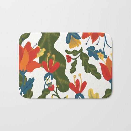 Tropical Flower Pattern Bath Mat