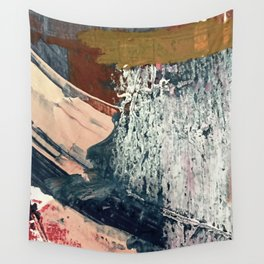 Kelly [2]: a bold, textured, abstract mixed media piece in fall colors/ blue, burnt sienna, ochre Wall Tapestry