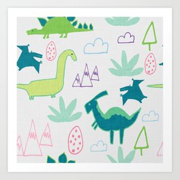 Dino Fun land Grey Art Print