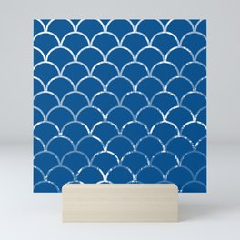 Textured large scallop pattern in snorkel blue Mini Art Print