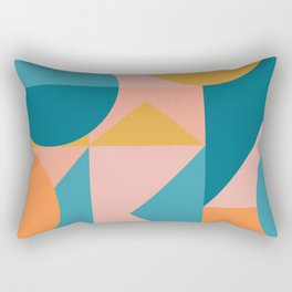 Colorful Geometric Abstraction in Blue and Orange Rectangular Pillow