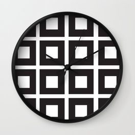 Nested Squares Black & White Wall Clock