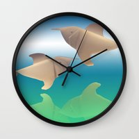 dolphins Wall Clocks featuring dolphins by Ruud van Koningsbrugge