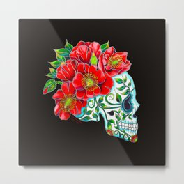 Sugar Skull with Red Poppies Metal Print