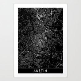 Austin Black Map Art Print