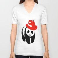 panda V-neck T-shirts featuring Panda by ArtSchool