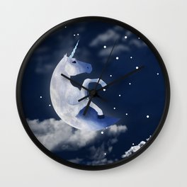 Field Guide to Unicorns: Moonicorn Wall Clock