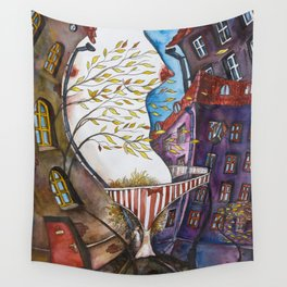 Autumn City Wall Tapestry