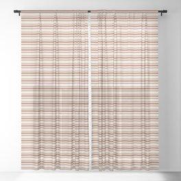 Warm Terracotta Brown Horizontal Stripe Patterns 2 on Creamy Off White Sherwin Williams Cavern Clay  Sheer Curtain