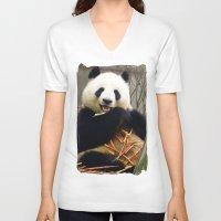 pandas V-neck T-shirts featuring Munching Pandas by Santiago & James