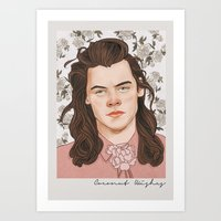 coconutwishes Art Prints featuring H Pink by Coconut Wishes