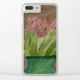 April Tulips Clear iPhone Case