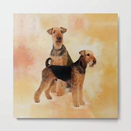 Airedale Terriers Digital Art Metal Print