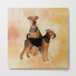 Airedale Terriers Digital Art Metal Print
