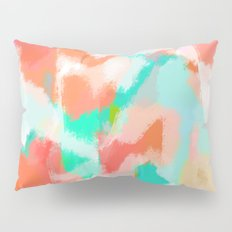 Fayola - Coral, teal, pink and white abstract art Pillow Sham