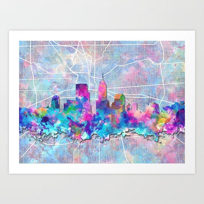 indianapolis city skyline watercolor 2 Art Print