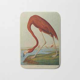 American Flamingo by John Audubon (1785 – 1851) Reproduction. Bath Mat