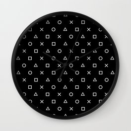 Gamer Pattern (White on Black) Wall Clock