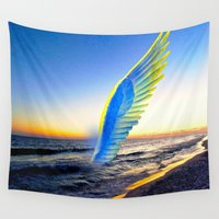 angel Wall Tapestries featuring Angel  by Saundra Myles