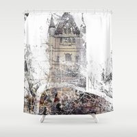 london map Shower Curtains featuring London by Nicolas Jolly