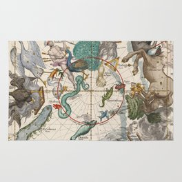 Old Constellation Map Year 1693 Rug