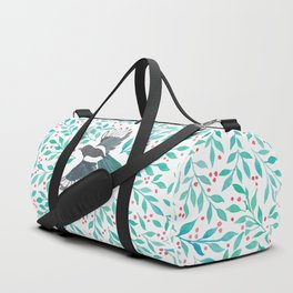 Magpie and Berry Branches Duffle Bag