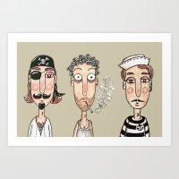 men Art Prints featuring Men by t i t i l l a