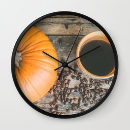 Autumn Photography - Coffee, Coffee Beans And Pumpkins Wall Clock