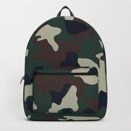 Green Brown woodland camo camouflage pattern Backpack