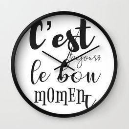French motivation success quote Wall Clock
