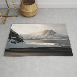 Arctic Mountain Landscape Photo |  Winter Snow Nature Road View Art Print | Travel Photography Rug