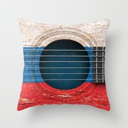 Old Vintage Acoustic Guitar with Russian Flag Throw Pillow