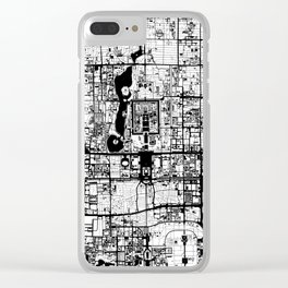 Beijing city map black and white Clear iPhone Case