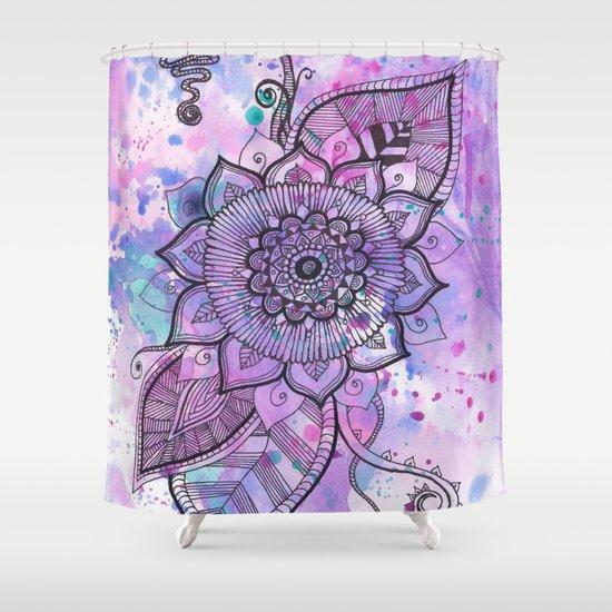 Mandala Flower Purple Shower Curtain By Becca Douglas