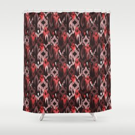 Weaving ikat in red Shower Curtain