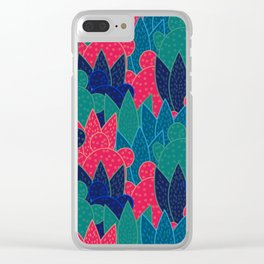 Cactus field at night Clear iPhone Case