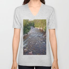 Iron rich river flows from high mountain Unisex V-Neck