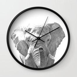 Black and white elephant illustration Wall Clock