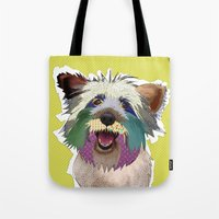 terrier Tote Bags featuring Terrier by TiannaHarman