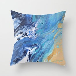 Sea Shore: Acrylic Pour Painting Throw Pillow