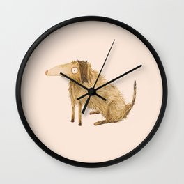 Brown Shaggy Haired Dog Wall Clock