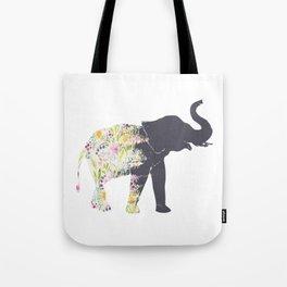 Floral Elephant Animal Print Tote Bag