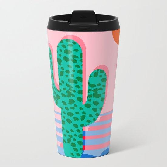 No Foolin - retro throwback neon art design minimal abstract cactus desert palm springs southwest  Metal Travel Mug