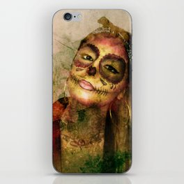 Chola Sugar Skull Grunge Art iPhone Skin