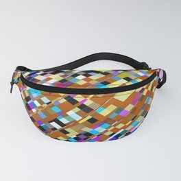 geometric square pixel pattern abstract background in brown yellow blue pink Fanny Pack