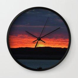 Lindisfarne castle sunset Wall Clock