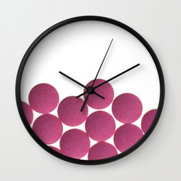 Isolated Pink Pills Texture Wall Clock