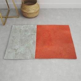 Abstract red paint with concrete texture collage Rug