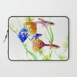 Guppy Fish colorful fish artwork, blue orange Laptop Sleeve